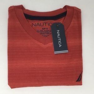 Nautica Boys' Short Sleeve V-Neck Tee, Small (8)